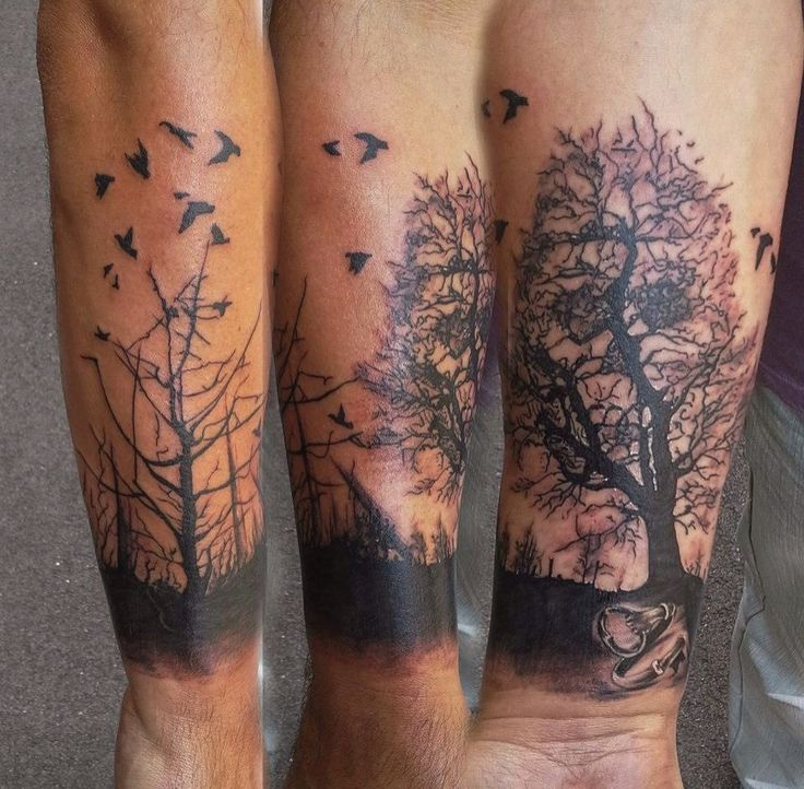Crows Silhouette Tattoos