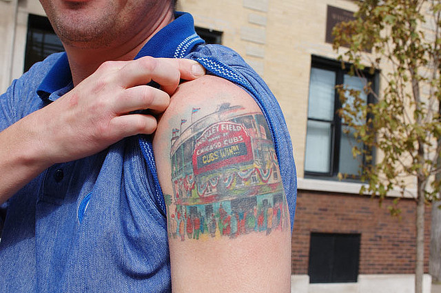 Cubs Win Sports Tattoo On Biceps
