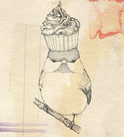 Cup Cake On Bird Head Tattoo Design
