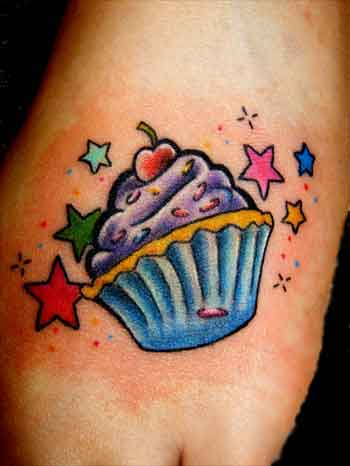 Cup Cake Tattoo With Stars