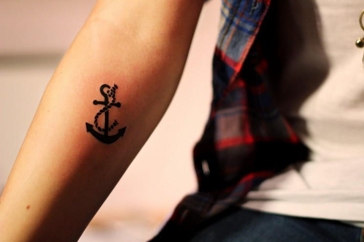 Cute Anchor Tattoo For Ankle