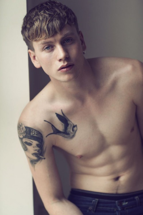 Cute Bird Tattoo On Front Shoulder For Young Guys