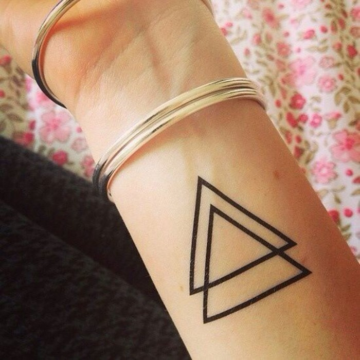 Cute Double Triangle Tattoos On Thumb