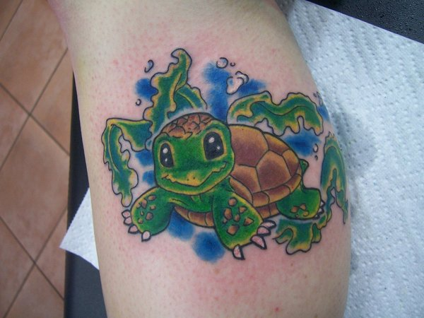 Cute Green Turtle Tattoo