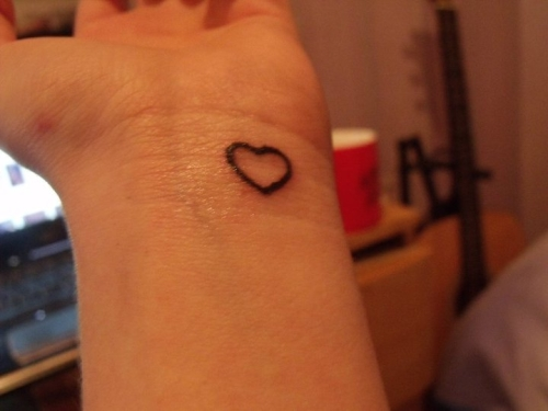 Cute Heart With Initial Tattoos On Wrist