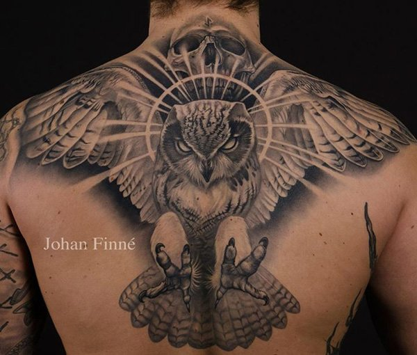 Cute Owl Tattoo On Back Neck