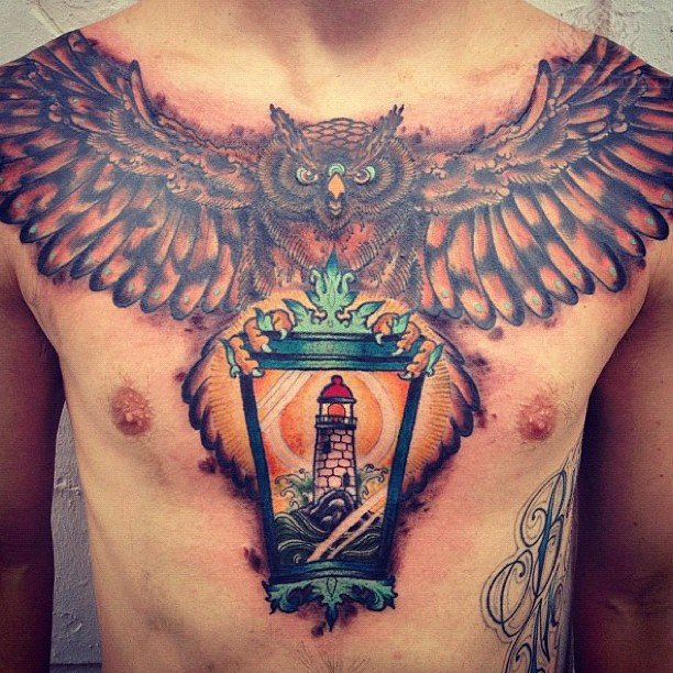 Cute Owl With Heart Chest Tattoo