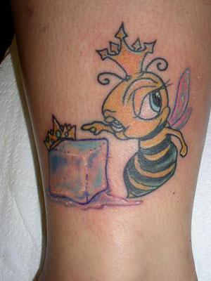 Cute Queen Bee With Green Eyes Tattoo