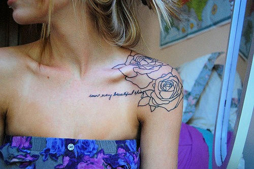 Cute Quote And Outline Roses Tattoos For Girls