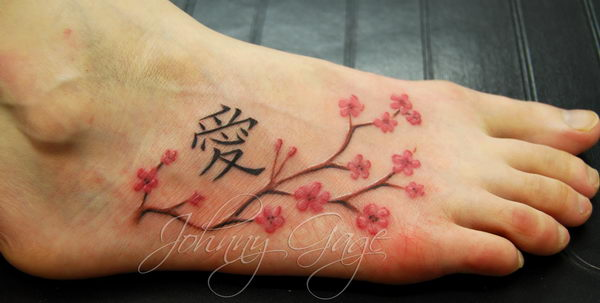 Cute Rabbit And Cherry Blossoms Tattoos On Chest For Girls