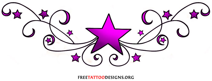 Cute Stars Tattoos On Womans Chest