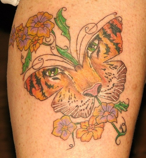 Cute Tiger Face Butterfly Tattoo