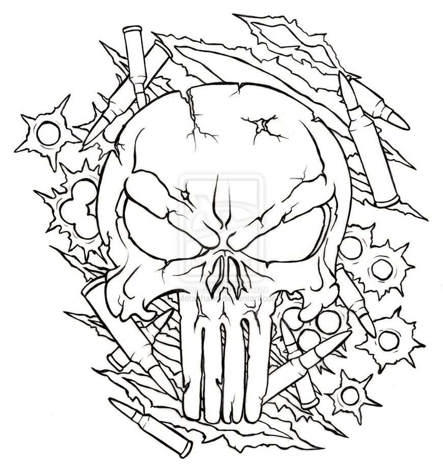 Free skull tattoo designs to print - Cyber Punisher Skull Tattoo Design Photo 3
