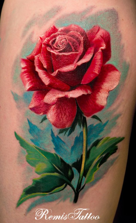 Dagger In Rose Tattoo On Leg