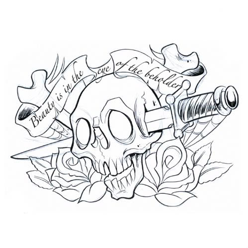 Dagger Through Sugar Skull Tattoo Design