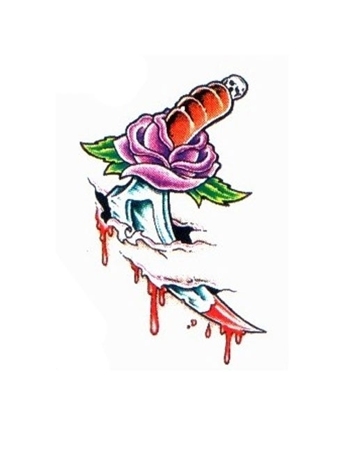 Dagger With Rose Tattoo On Skin