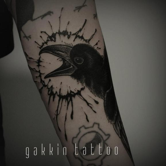 Dark Black Ink Raven Muscles Tattoos