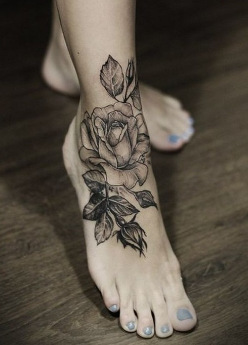 Dark Black Tulips Tattoo Designs