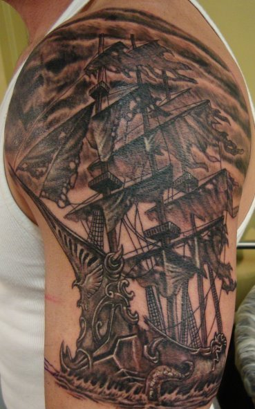 Dark Impressive Ship Tattoo On Arm