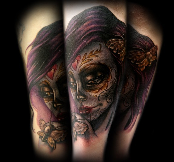Day Of The Dead Mexican Girl And Roses Tattoo Design