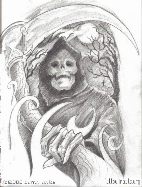Live Is Blind Grim Reaper Tattoo Design On Ribs