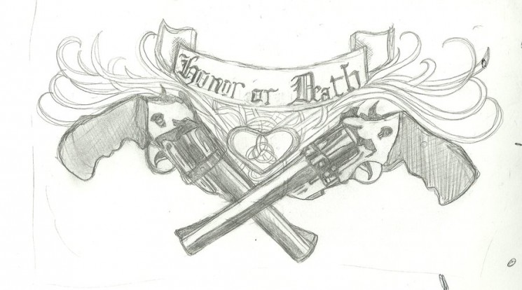 Death Gun Tattoo Drawing