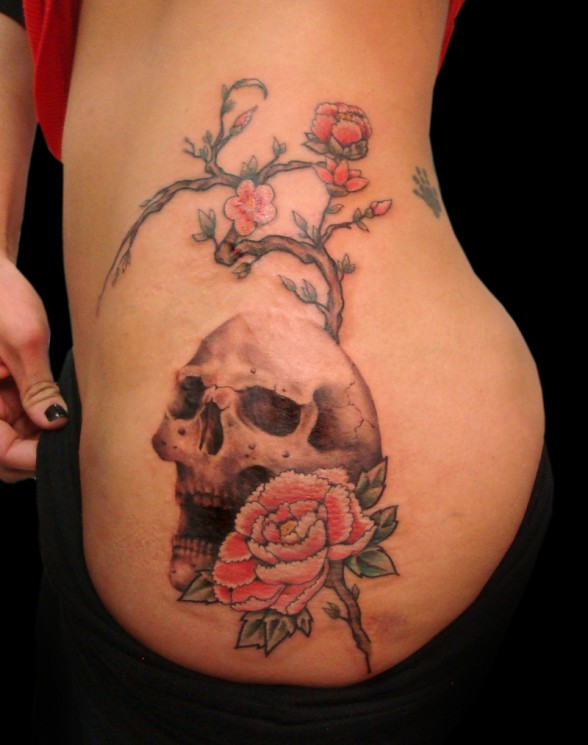 Death Skull And Roses Waist Tattoos