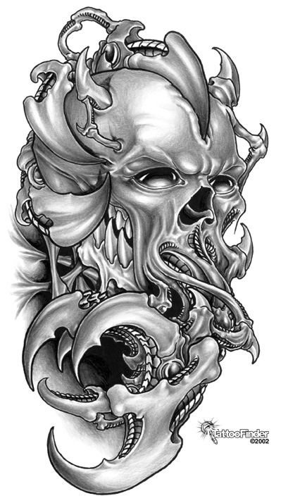 Death Skull n Flowers Tattoo On Back