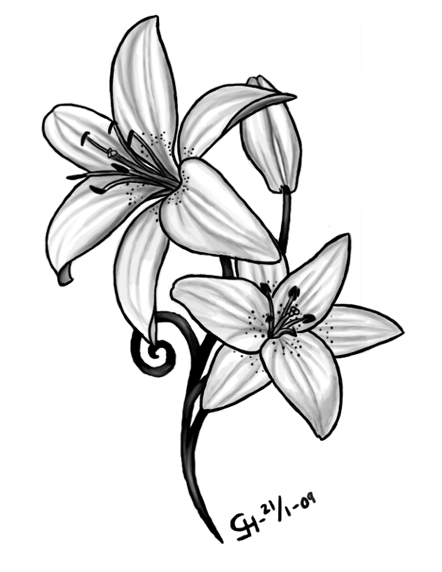 Death Skull n Lily Flowers Tattoo Design