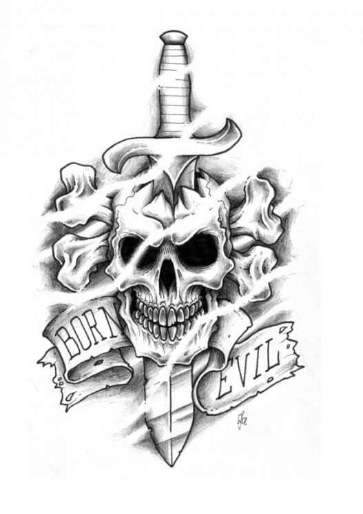 Death Skull n Rose Tattoo Design