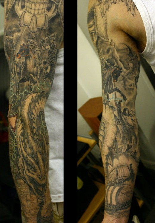 Death Sleeve Tattoo Design