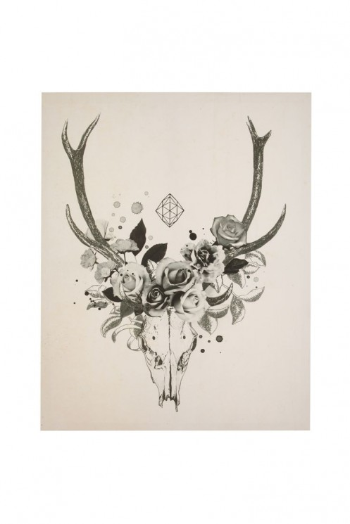 Deer With Flowers Antlers Tattoo On Muscles