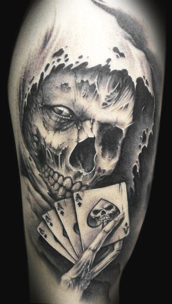 Demon Skull Without Color Tattoo Design