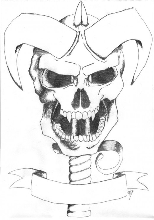 Demonic Skull Dagger Tattoo Drawing