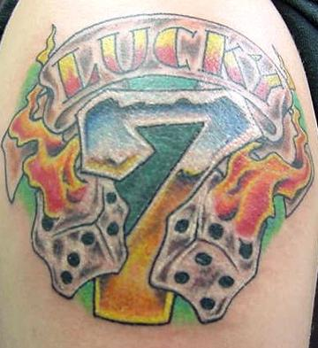 Dice Flames Tattoo On Arm