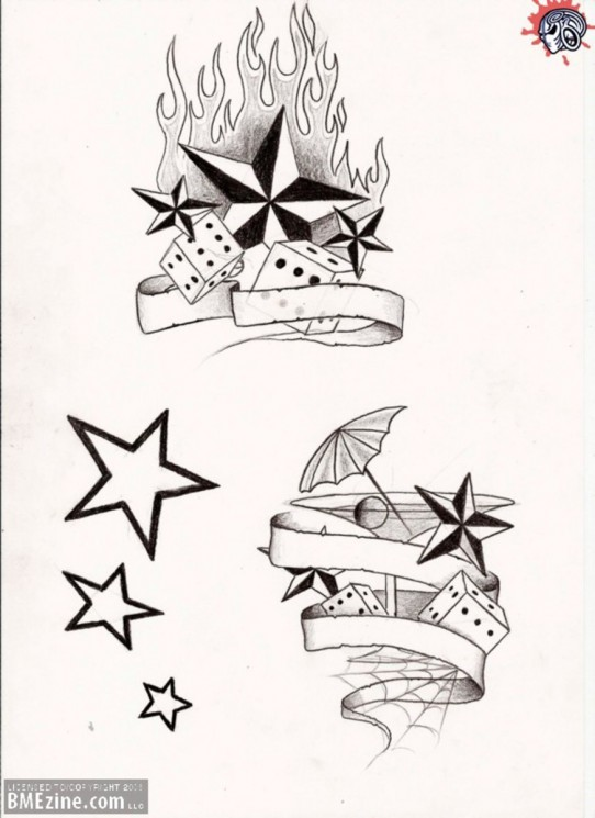 Dice With Stars Tattoo Design