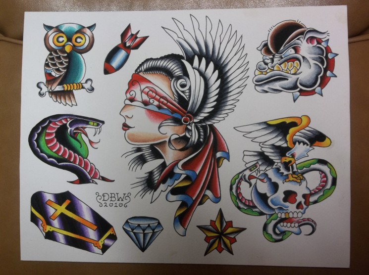 Different Traditional Tattoo Flash Sheet