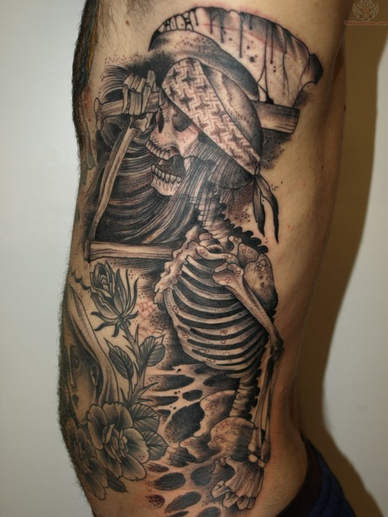 Dinosaur Skeleton Grey Ink Tattoo