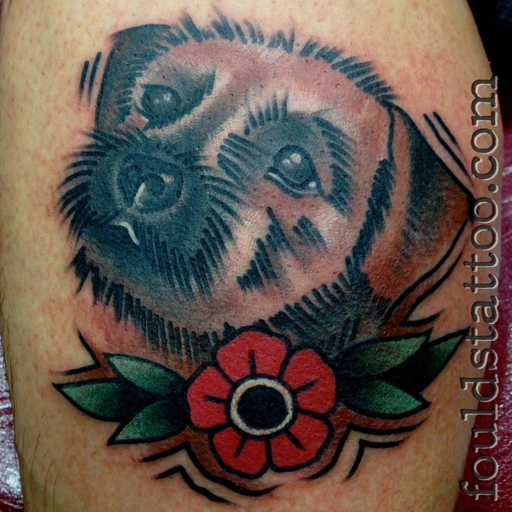 Dog Face Flowers Tattoo Design