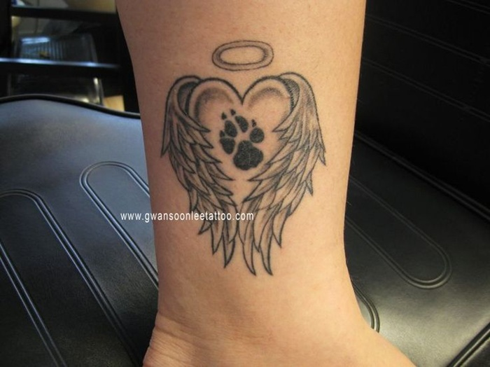 Dog Paw And Name Tattoos On Foot