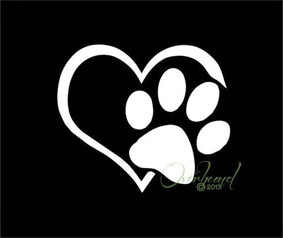 Dog Paw Print With Love Heart Tattoo Sample