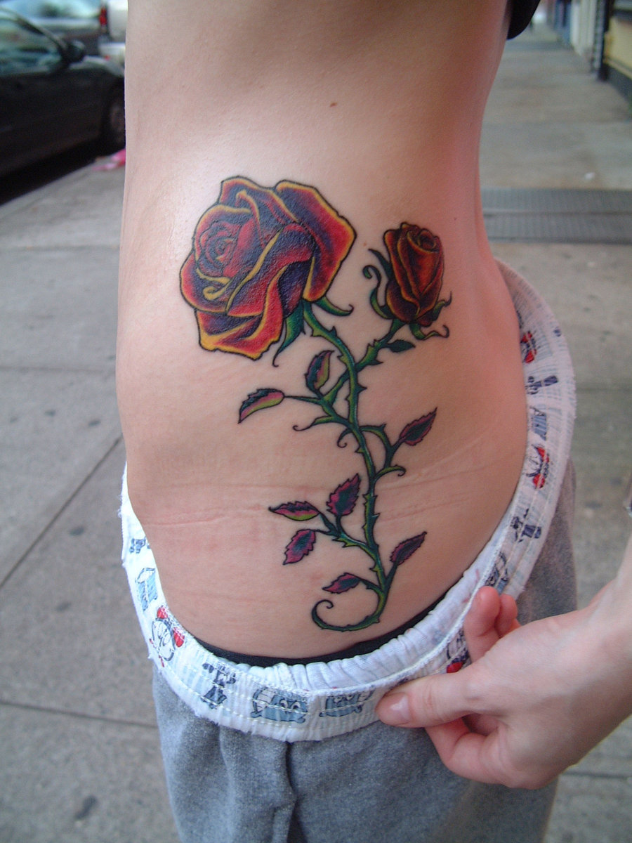 Dog tattoo ideas for women - All Images To Dog With Roses Tattoo Design