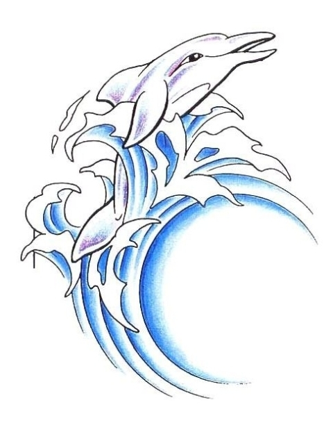 Dolphin And Blue Wave Tattoos On Hip