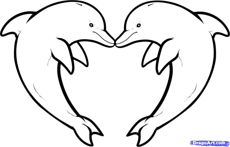 Dolphins n Heart Tattoo Design