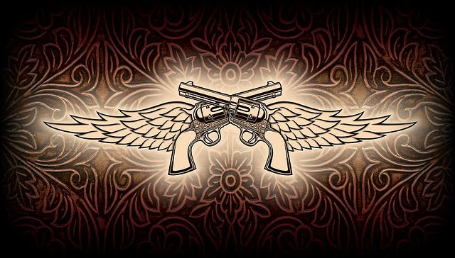 Double Pistol With Wings Tattoos