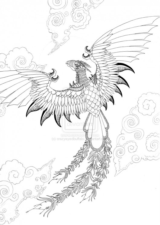 Dragon And Phoenix Outlines Tattoos On Chest