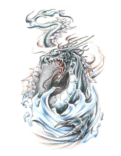 Dragon Emerging From Water Waves Tattoo Design