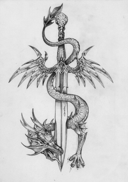 Dragon Guards The Sword Tattoo Sketch