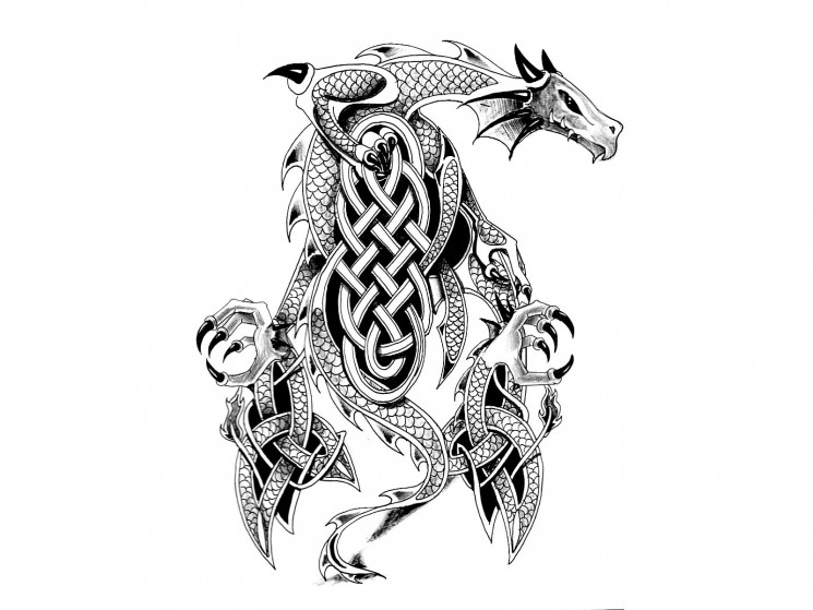 Dragon Head And Sword Tattoo Designs