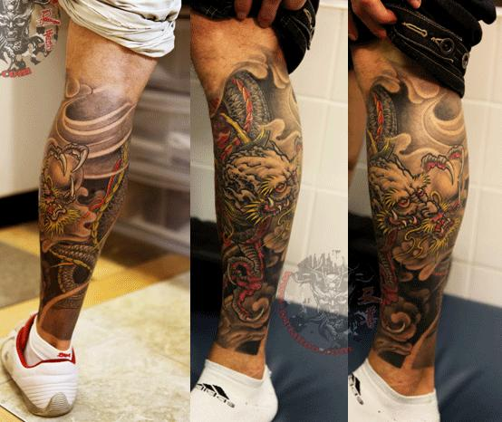 Dragon Leg Tattoo Design